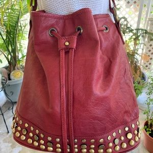 ASOS Red Leather Drawstring Tote Bag